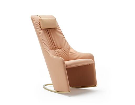 Nagi High Rocking Armchair w. Soft Upholstery & Headrest