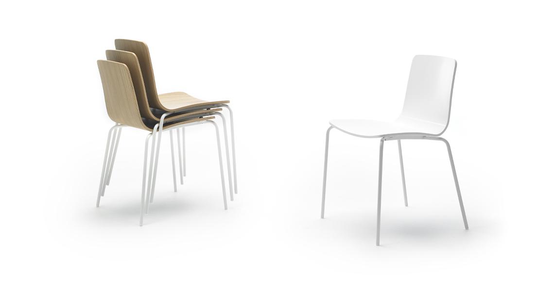 Klip Stuhl 4-Fußgestell, Gebeizt oder Lackiert
