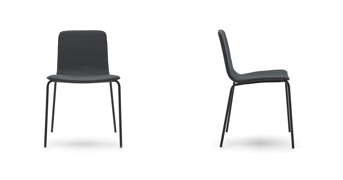 Klip Stuhl 4-Fußgestell, Glatter Bezug