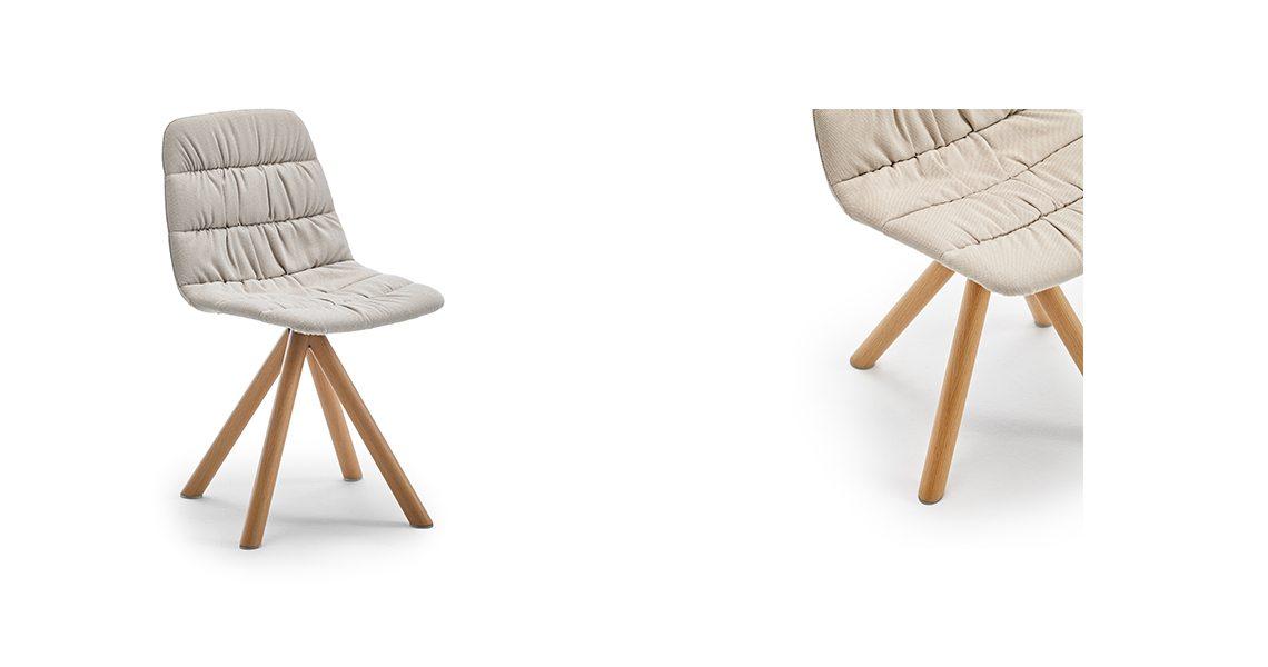 Maarten Chair Swivel Wood Base Soft Upholstery