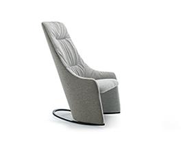 Nagi High Rocking Armchair w. Soft Upholstery