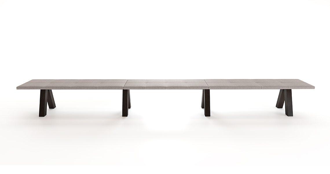 Trestle Bench Triple — Padded Upholstery