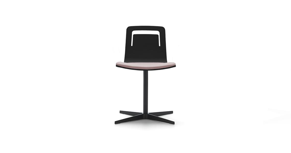 Klip Stuhl Drehgestell mit 4-Fußkreuz, Gepolsterter Sitz und Griff