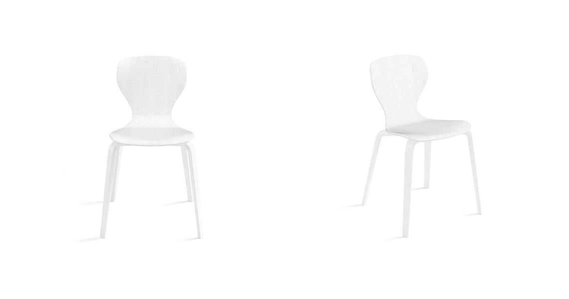 Ears Chair, 4 Wooden Legs Full White