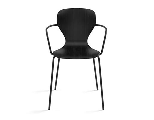 Ears Chair, 4 Metal Legs & Armrests