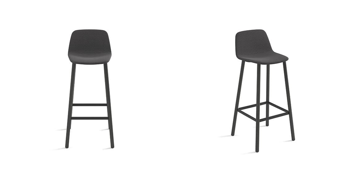 Maarten Bar Stool Four Legs Low Backrest, Smooth Upholstery