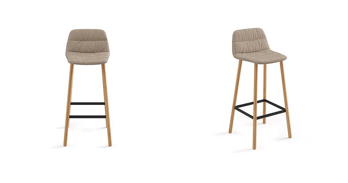 Maarten Bar Stool Four Legs Low Backrest, Soft Upholstery