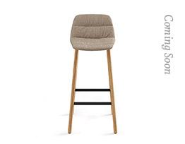 Maarten Bar Stool Four Legs Low Backrest Soft Upholstery