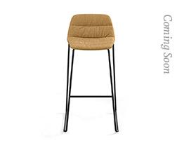 Maarten Bar Stool Sled Base Low Backrest Soft Upholstery