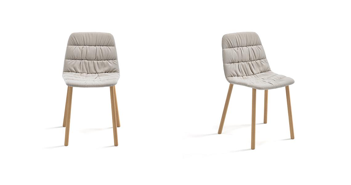 Maarten Chair Four Wooden Legs Soft Upholstery