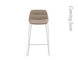 Maarten Counter Stool Low Backrest Sled Base Soft Upholstery