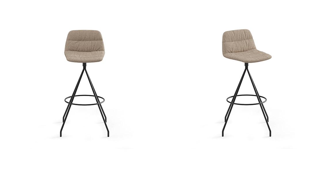 Maarten Swivel Bar Stool Low Backrest, Soft Upholstery