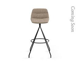 Maarten Swivel Bar Stool Low Backrest Soft Upholstery