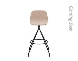 Maarten Swivel Counter Stool Low Backrest Smooth Upholstery